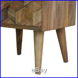 Bedside Table Light Mango Wood Carved Storage Drawers Brass Handles Mid-century