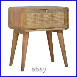 Bedside Table Light Mango Wood Rattan Storage Drawer Brass Handle Scandinavian