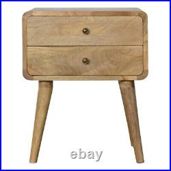 Bedside Table Mango Wood Brass Handles Storage Drawers Curved Design Mid-century