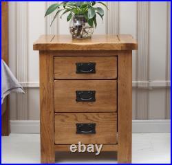 Bedside Table Oak Wood Nightstand 3 Storage Drawer Bed Light Oak Bedside Cabinet