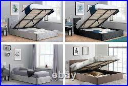 Birlea Ottoman Storage Beds Silver, Black Crushed Velvet & Grey Fabric 4 Sizes