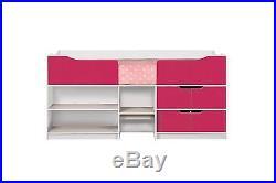 Birlea Paddington Cabin Bed mid midi Storage Single Bed Frame Pink Gloss & White
