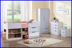 Birlea Paddington Cabin Bed mid midi Storage Single Bed Frame White Gloss & Oak