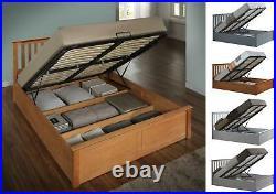 Birlea Phoenix Wood Ottoman Storage Bed Oak White Stone or Pearl Grey Solid