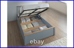 Birlea Phoenix Wooden Ottoman Storage Bed Frame 4ft6 Double Stone Grey