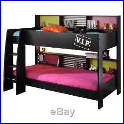 Black Bunk Bed 2 Single Beds Ladder Storage Shelves Bedframe ...