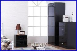 Black High Gloss & Black Oak 3 Piece Trio Bedroom Set Wardrobe Chest Bedside