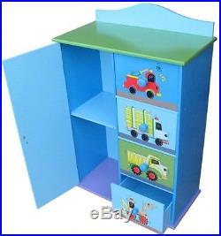 Blue Kids Cabinet Drawers Unit Clothes Toys Storage Boys Bedroom Playroom Trucks