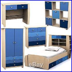 Blue Sydney Range Set 3 Storage Bed Bedside Wardrobe Drawer Desk For Children