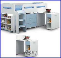 Blue-White Single Mid Sleeper Bed Kids Teen With Storage Bedroom ...