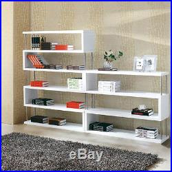 Bookshelf 3-Tier High Hi Gloss Shelf Bookcase Shelves WHITE Modern Storage