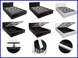 Boston 4ft6 Double Ottoman Storage Gas Lift Bed Black, Brown, White