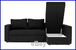 Boston Corner Sofa Bed with Underneath Storage in Grey Brown Black or Cream
