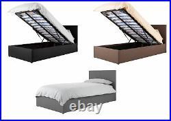 Boston Fabric Lift Up Ottoman Storage Bed Black, Brown, Grey 3ft Single