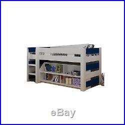 Boys Blue + White Seconique Lollipop Bunk Bed, Kids Mid Sleeper + Storage
