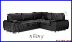 Brand New Enzo Corner Sofa Bed With Storage Black Brown Cream Faux Leather