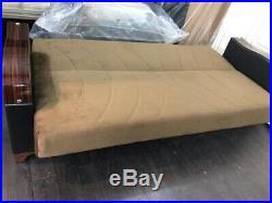 Brand New Turkish ALFA 3 Seater Sleeper Fabric Sofa Bed with Storage BROWN