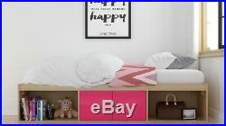 Brandon Cabin Single Bed With Storage Pink Gloss Oak Children Kids Bedroom