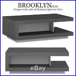 Brooklyn Dusk Gloss Platinum / Light Grey Coffee Table Shelf Storage Furniture