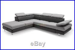 COMEZO Fabric L-shape Corner Sofa Bed Storage Sleep Function Grey Naroznik Kanap