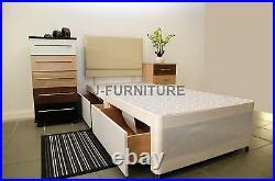CREAM Divan Bed Base. Single, Double, King Size. Choose Size, Storage, Headboard. SALE