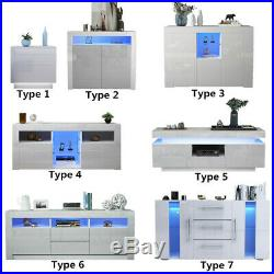 Cabinet TV Unit Storage Sideboard Cupboard Side Table High Gloss Front LED Light