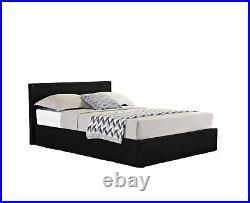 Caspian Ottoman Bed Alligator Gas Lift Up Storage Black 4FT6 Double