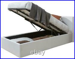 Caspian Ottoman Bed Alligator Gas Lift Up Storage White 3FT Single