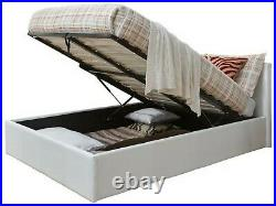 Caspian Ottoman Bed Alligator Gas Lift Up Storage White 4FT6 Double