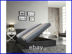 Caspian Ottoman Bed Alligator Side Lift Storage Black 4FT6 Double