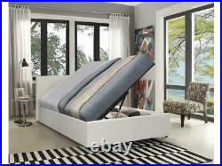 Caspian Ottoman Bed Alligator Side Lift Storage White 4FT6 Double