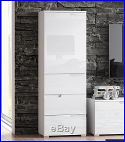 Cellini White Gloss Slim Tallboy Bathroom Cupboard Narrow Storage Cabinet Unit