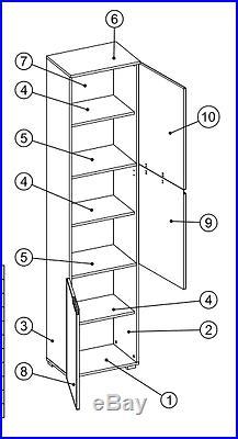 Cellini White Gloss Tall Storage Cupboard Cabinet Bathroom Unit Slim Tallboy S13