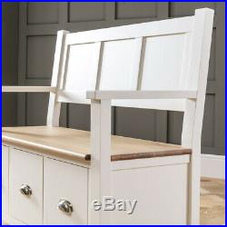 Cheshire Cream Painted Monks Hall Bench with 3 Drawers Storage WW38