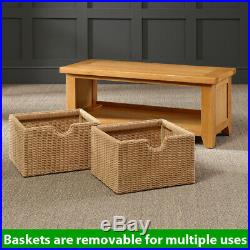 Cheshire Oak Hall Shoe Bench with 2 Storage Baskets Porch Furniture AD41