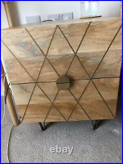Chest Of Drawers/bedside Table Mango Wood, 2 drawer storage, Gold Detail
