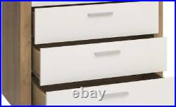 Chest of 4 Drawers White Gloss Oak Effect Bedroom Living Room Storage Balder