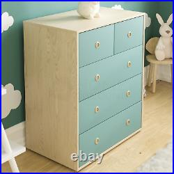 Chest of Drawers 5 Drawer Chest Bedroom Furniture Storage Blue & Oak Set of 2