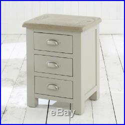 Chester Grey Painted 3 Drawer Bedside Side Cabinet Nightstand Storage GS01