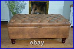 Chesterfield Deep Button Footstool with Storage in Premium Tan Faux Leather