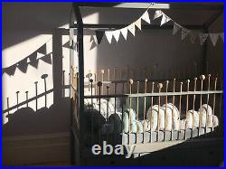 Child's Wooden House Bed with 3 storage drawers including mattress 80X170X185cm