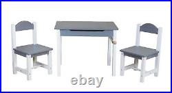 Children's Kids Wooden Table and Chairs Nursery Furniture Set Storage Indoor Use