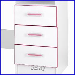 Children's Writing Desk Pink Kids Bedroom Furniture Storage Drawing Table Work