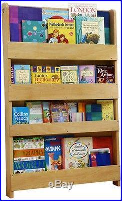 Childrens Bookcase Books Magazines Display Storage Kids Bedroom 4 Tier Furniture