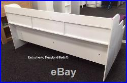 Childrens White Single Bed Frame With Underbed Storage & Bookcase -New Kids Beds