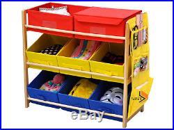 Childrens/kids 3 Tier Toy/bedroom Storage Shelf Unit & 8 Canvas Boxes/drawers
