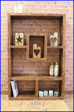 Chunky Rustic Wooden Bookcase Handmade Wall Shelving Unit Storage