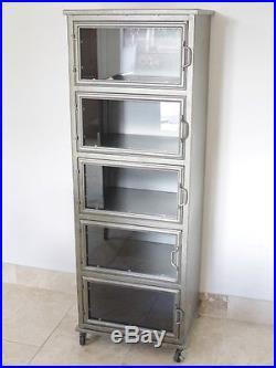 Clearance 5 Door Metal Industrial Display Cabinet On Wheels Metal Storage Unit