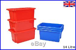 Coloured Plastic Storage Boxes Strong Large & Small Nursery School Toy Craft Box