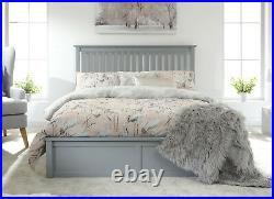 Como Wooden Ottoman Lift Up Storage Bed Grey or White Single Double Kingsize